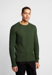 Knowledge Cotton Apparel - ONECK STRUCTURED - Neule - green forest - 0