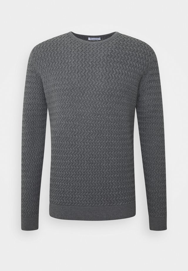 FIELD O-NECK STRUCTURED - Stickad tröja - dark grey