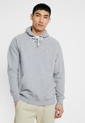 HOOD KANGAROO WITH OWL BADGE - Hoodie - grey melange
