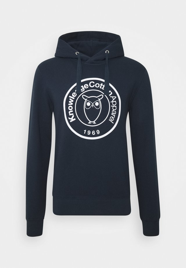 ELM HOOD BIG BADGE - Jersey con capucha - dark blue