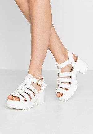 VEGAN - Platform sandals - white