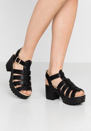 VEGAN - Sandály na platformě - black