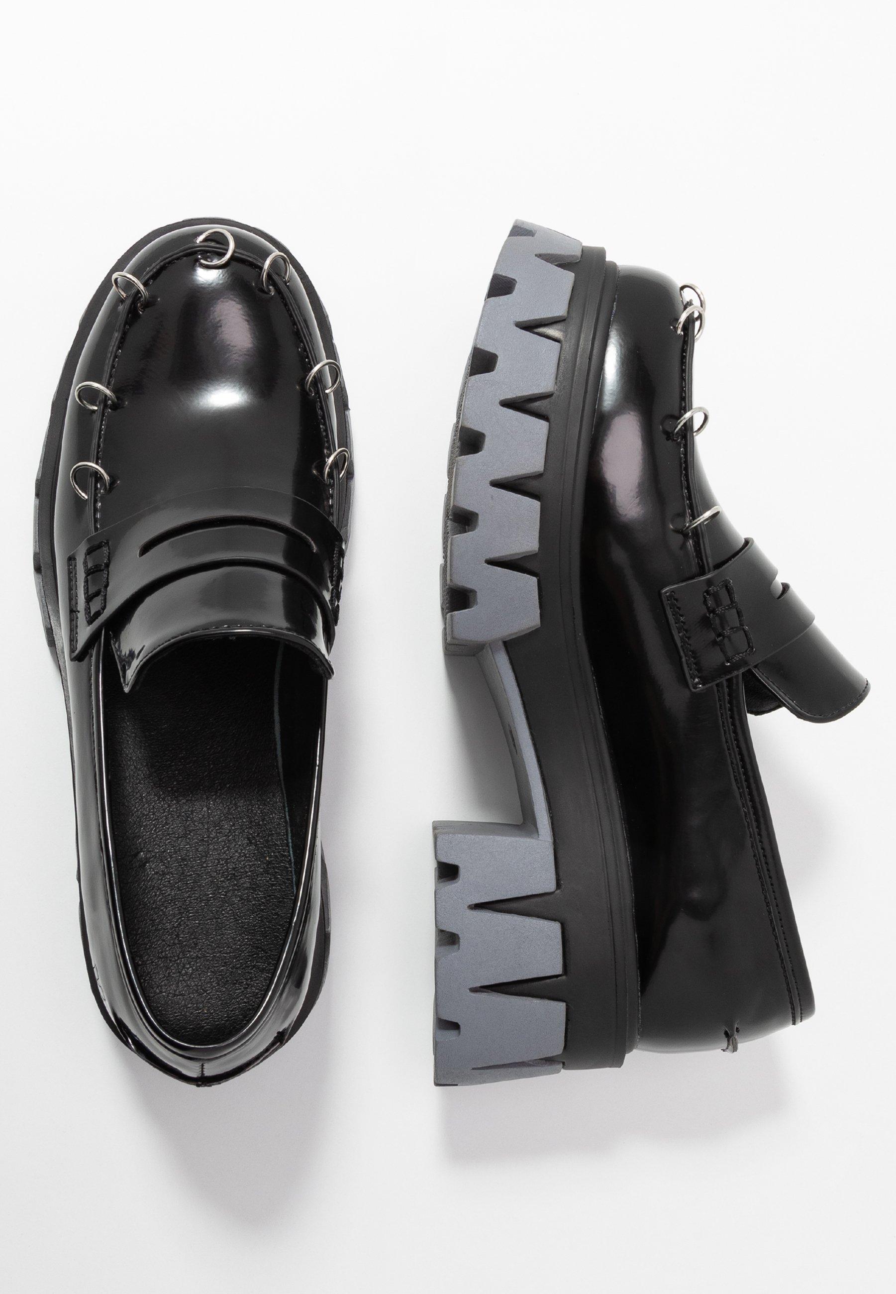 Koi Footwear Vegan Gensai Ashen Pierced Loafers - Scarpe Con Plateau Black Shine/grey K9z4E