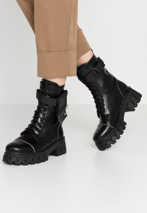 VEGAN BANSHEE - Bottines à plateau - all black