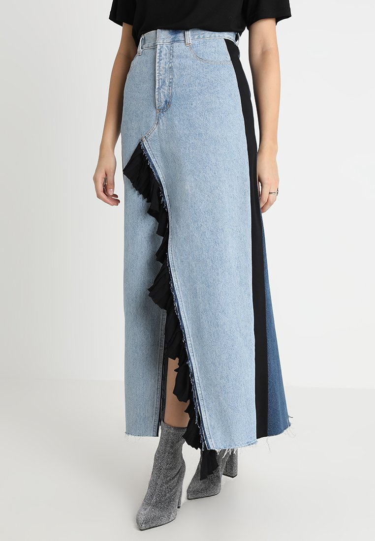 Ksenia Schnaider - MIXED COLOUR REWORKED SKIRT WITH A RUFFLED SLIT - Maxi skirt - mixed blue