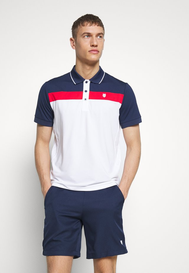 HERITAGE SPORT STRIPE - Pikeepaita - white/red/navy