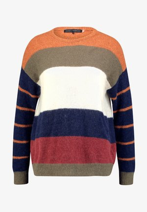 MEDITION STRIPED - Jumper - dark olive