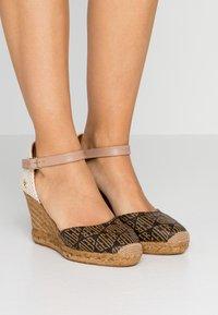 Kurt Geiger London - MONTY MONOGRAM - High heeled sandals - brown - 0