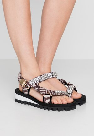 ORION - Wedge sandals - grey mixed