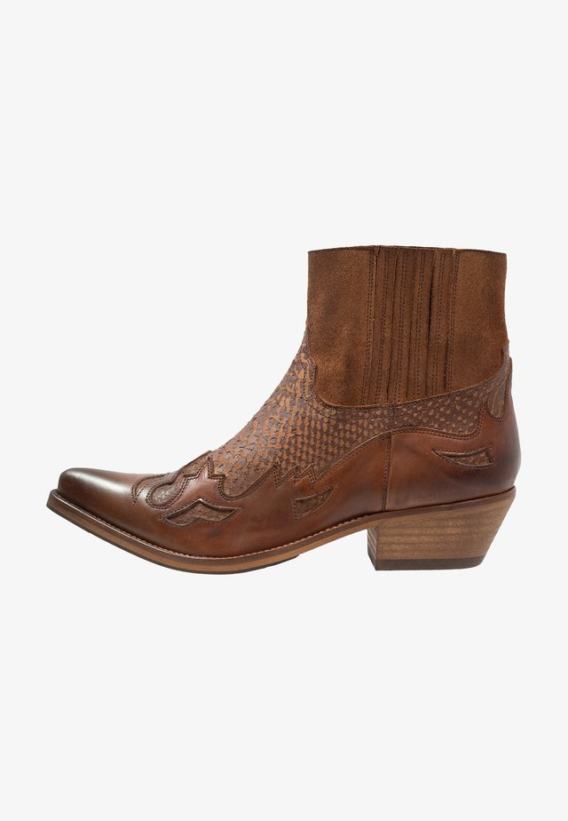 Cowboy/biker ankle boot - tint brown