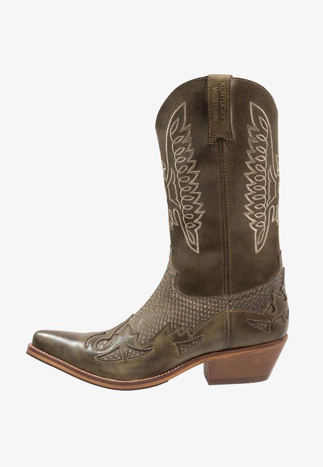 Cowboy- / Bikerboots - tint/olive