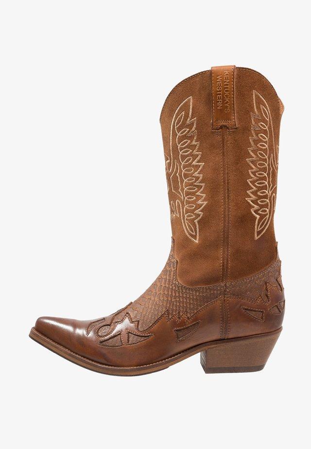 Cowboy- / Bikerboots - tint/roble
