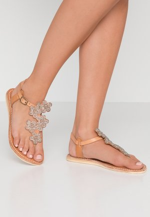 EZRA FLAT - T-bar sandals - silver