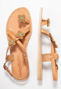 laidbacklondon - BLYTH FLAT - T-bar sandals - metal gold / turquoise - 3