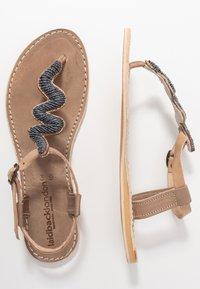 laidbacklondon - ZIGGY FLAT - T-bar sandals - tan/gun metal - 3