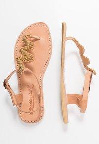 laidbacklondon - ZIGGY FLAT - T-bar sandals - brown/metal gold - 3