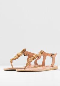 laidbacklondon - ZIGGY FLAT - T-bar sandals - brown/metal gold - 4
