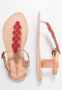 laidbacklondon - HEDDON FLAT - T-bar sandals - tan/metal silver/grey - 3