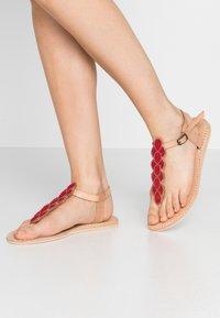 laidbacklondon - HEDDON FLAT - T-bar sandals - tan/metal silver/grey - 0