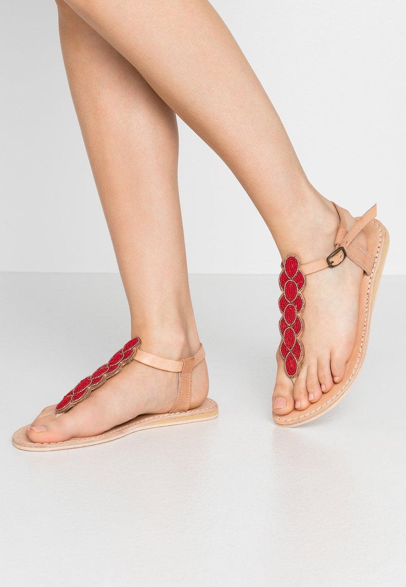 laidbacklondon - HEDDON FLAT - T-bar sandals - tan/metal silver/grey