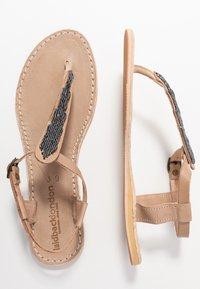 laidbacklondon - LENI FLAT - T-bar sandals - tan/gun metal - 3