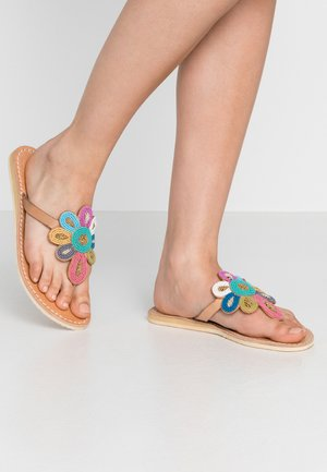 FUNZI FLAT - T-bar sandals - light brown retro