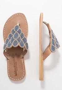 laidbacklondon - LAITH FLAT - T-bar sandals - tan/metal silver/grey - 3