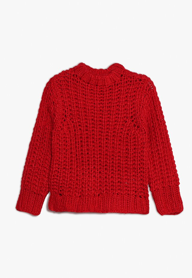 NLFSERLE SHORT - Stickad tröja - flame scarlet