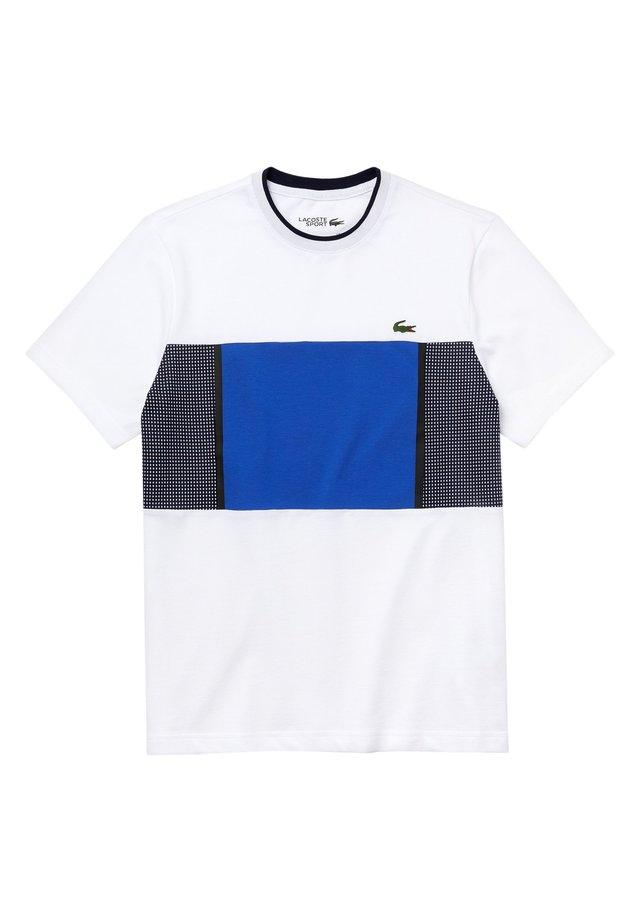 LACOSTE SPORT - HERREN T-SHIRT - T-shirt imprimé - weiß/blau/navy blau/navy blau