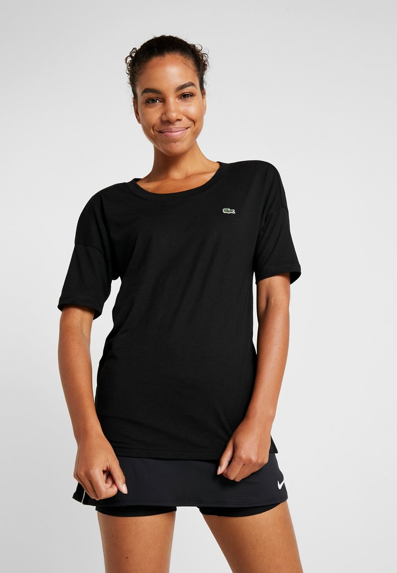 Lacoste Sport - T-shirt med print - black/white