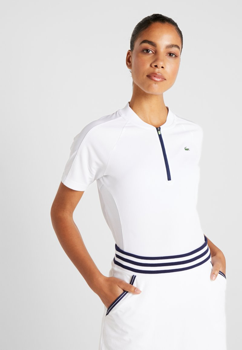 Lacoste Sport - T-shirt con stampa - white/navy blue
