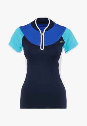 TENNIS SHIRT - T-shirt print - navy blue/haiti blue/white/lemon