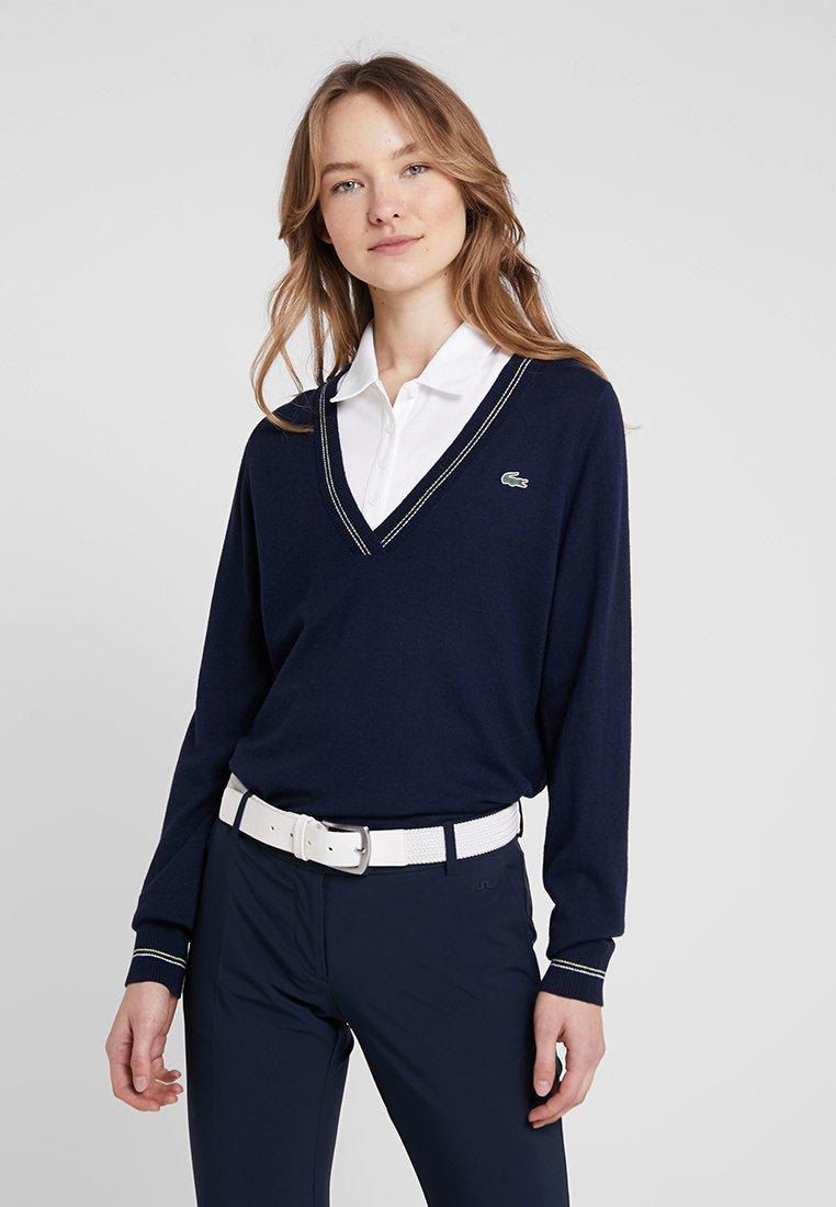 Lacoste Sport - Strikpullover /Striktrøjer - navy blue/white onagre