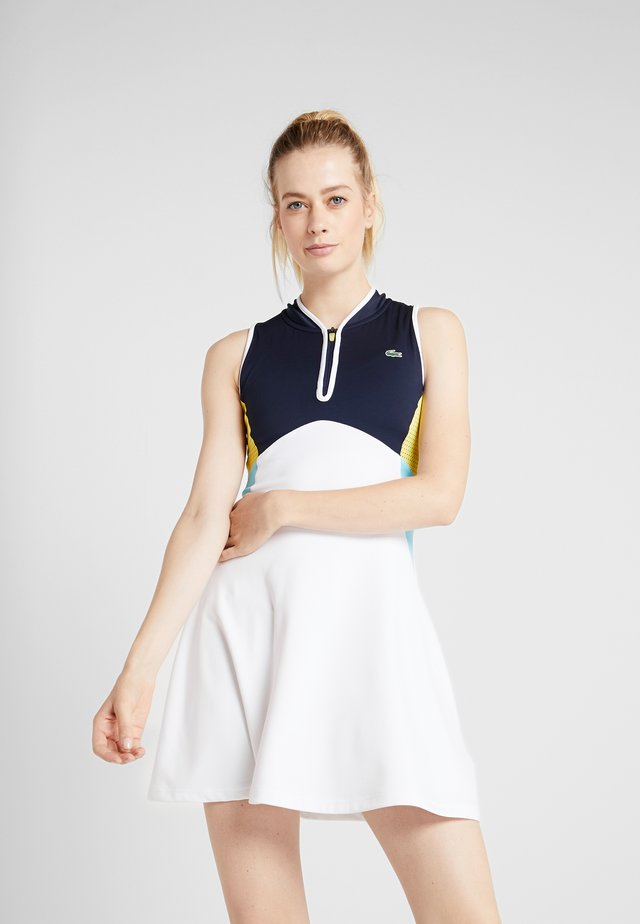 TENNIS DRESS - Sportklänning - white/navy blue/haiti blue/lemon