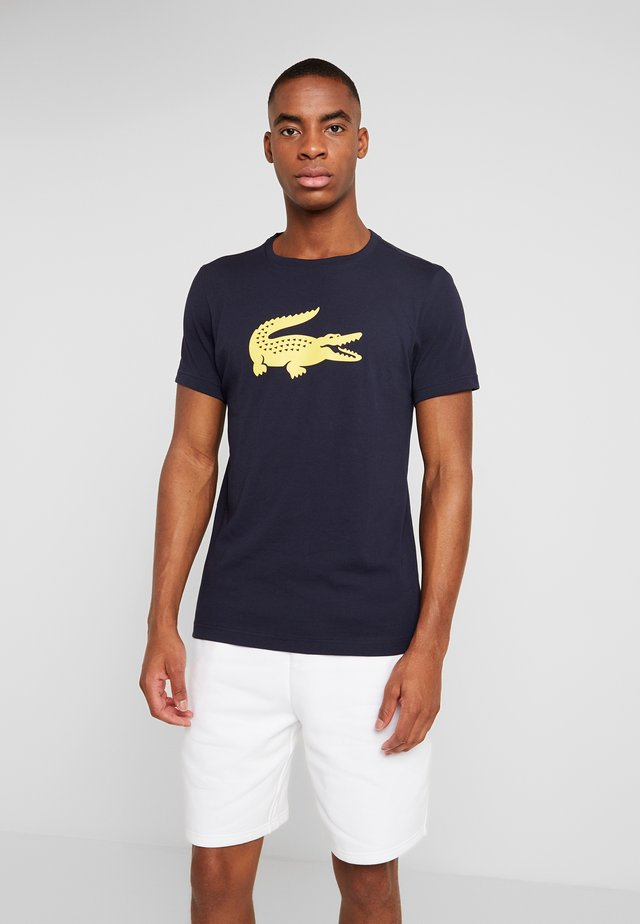 BIG LOGO - T-shirt imprimé - navy blue/lemon