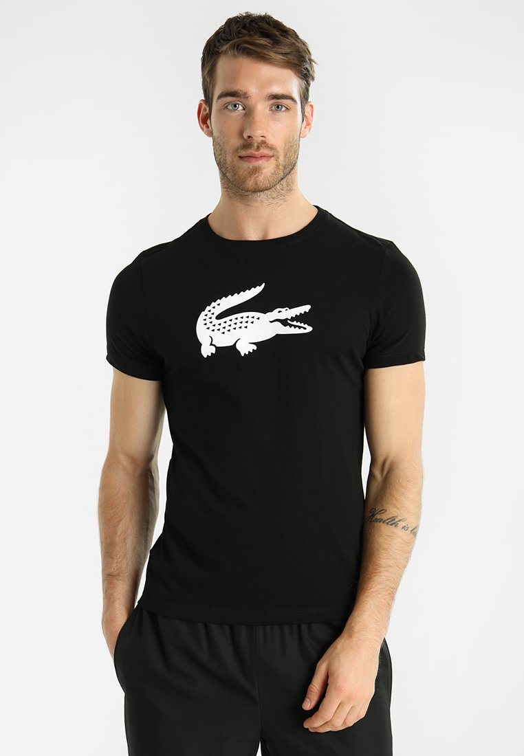 Lacoste Sport - BIG LOGO - T-shirt imprimé - black/white