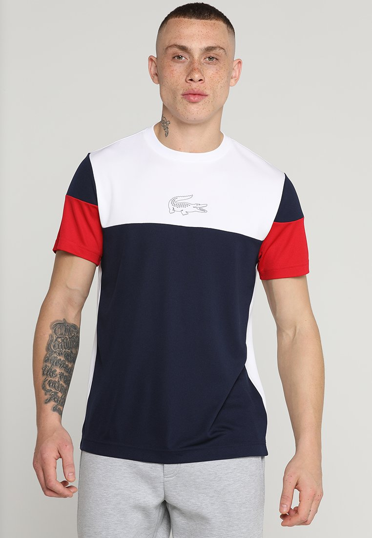 Lacoste Sport - TENNIS BLOCK - T-Shirt print - white/navy blue/red