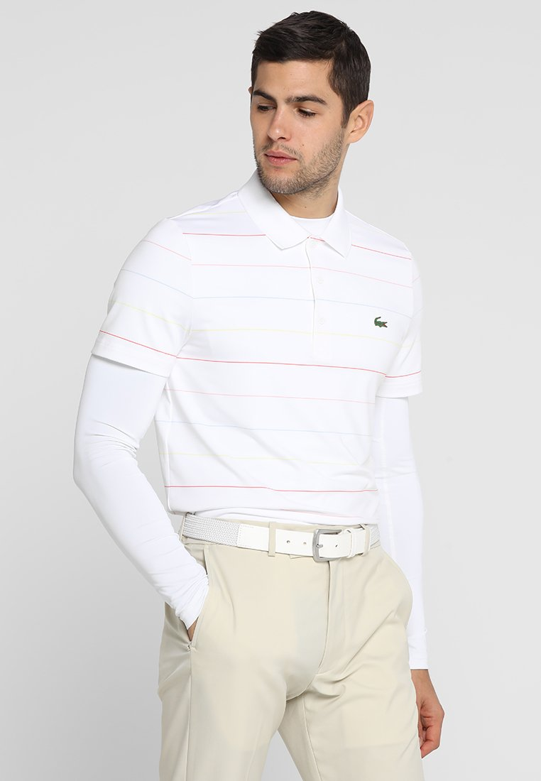 Lacoste Sport - GOLF MODERN STRIPES - Sports shirt - white/mango tree red/bagatelle pink/dream blue/sulphur pit