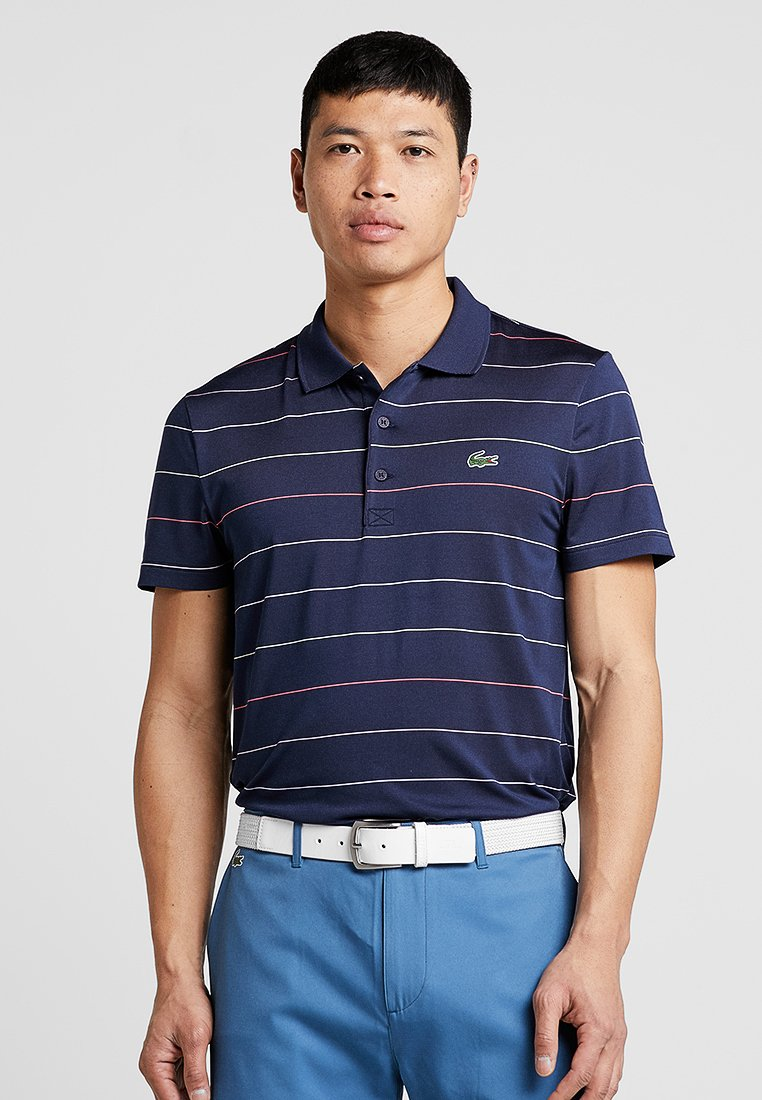 Lacoste Sport - GOLF MODERN STRIPES - Funktionsshirt - navy blue/mango tree/red/bagatelle pink/white/sulphur pit