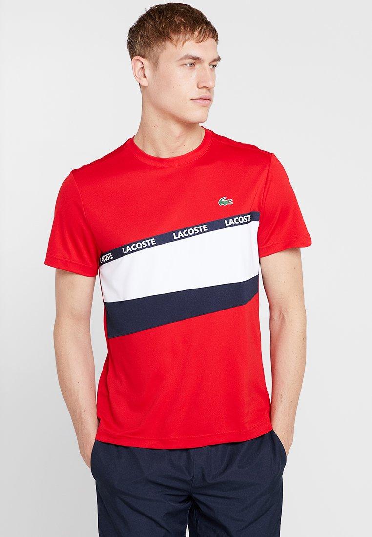 Lacoste Sport - TENNIS - T-Shirt print - red/white/navy blue