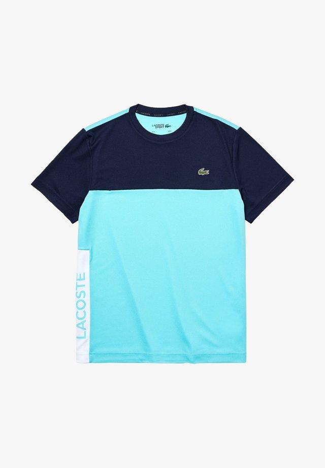 TENNIS BLOCK - T-shirt imprimé - navy blue/turquoise/white