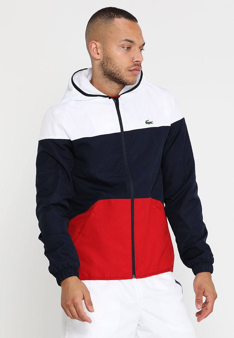 Lacoste Sport - TRACKJACKET - Training jacket - white/navy blue/red