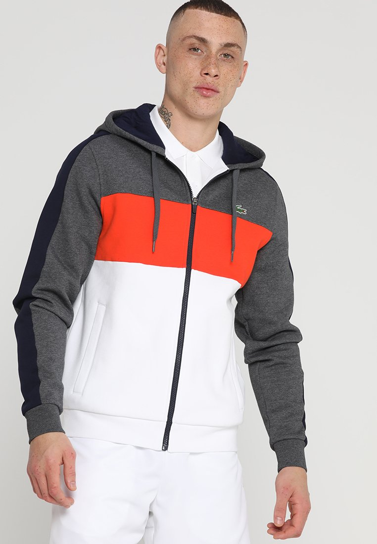 Lacoste Sport - BLOCK - Zip-up hoodie - pitch/navy blue-mexico red-white