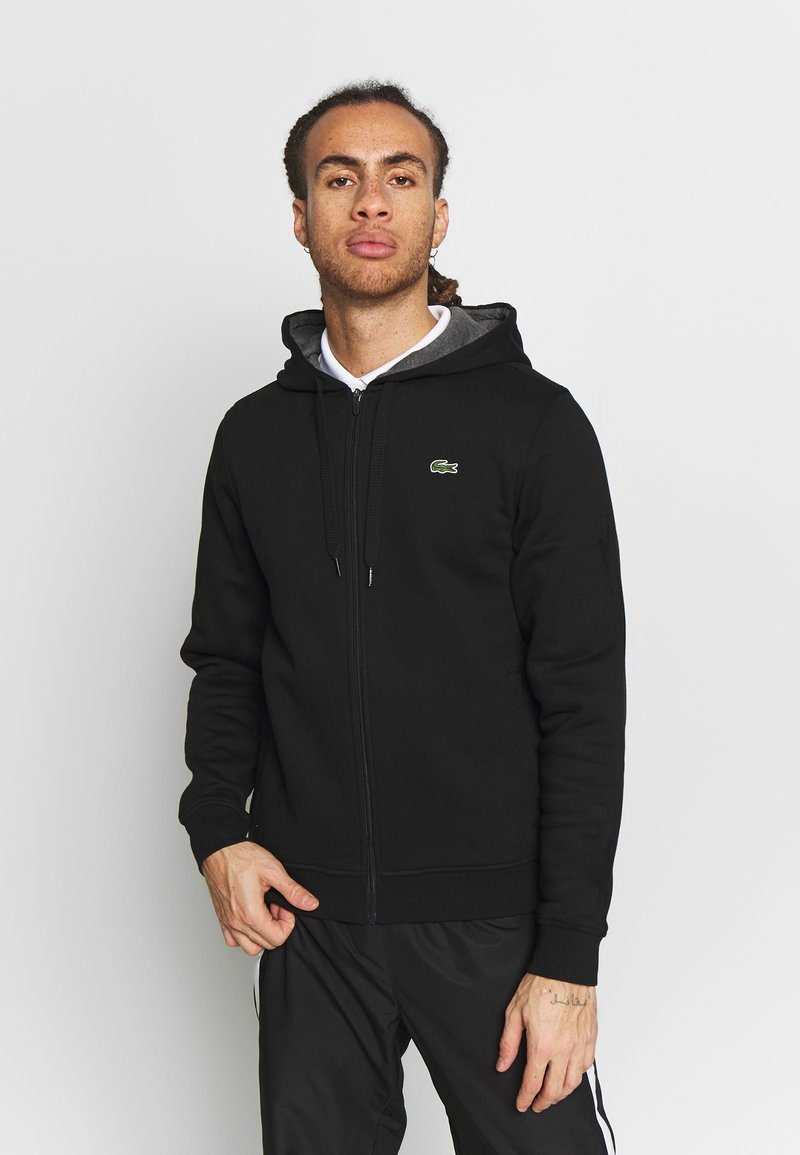 Lacoste Sport - Huvtröja med dragkedja - black/pitch chine