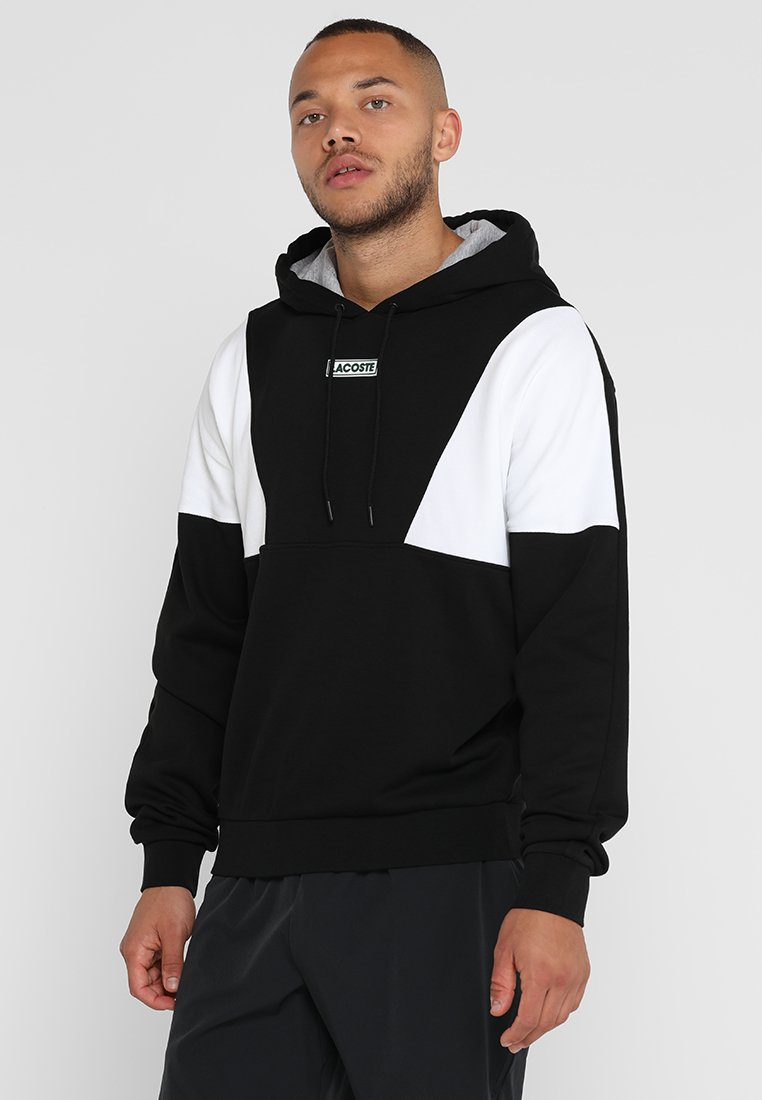 Lacoste Sport - HOODIE - Hættetrøjer - black/white silver chine