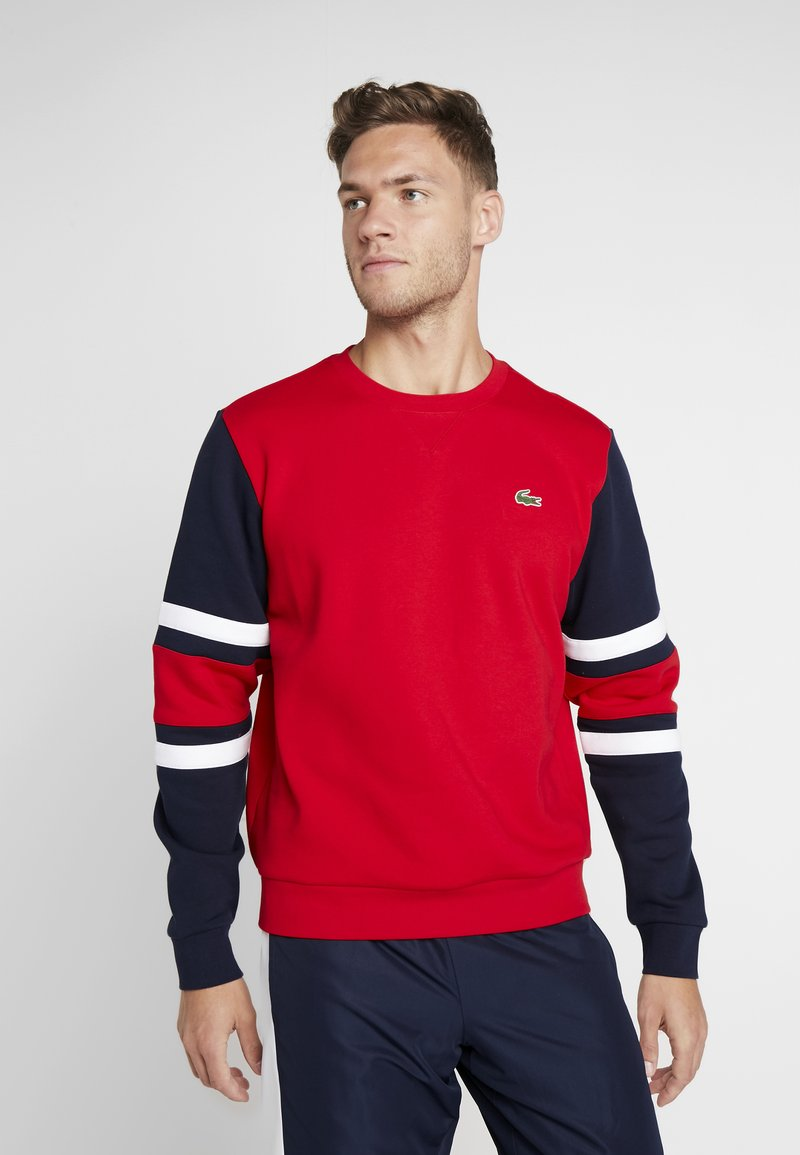 Lacoste Sport - SWEATER - Sweatshirt - red/navy blue/white