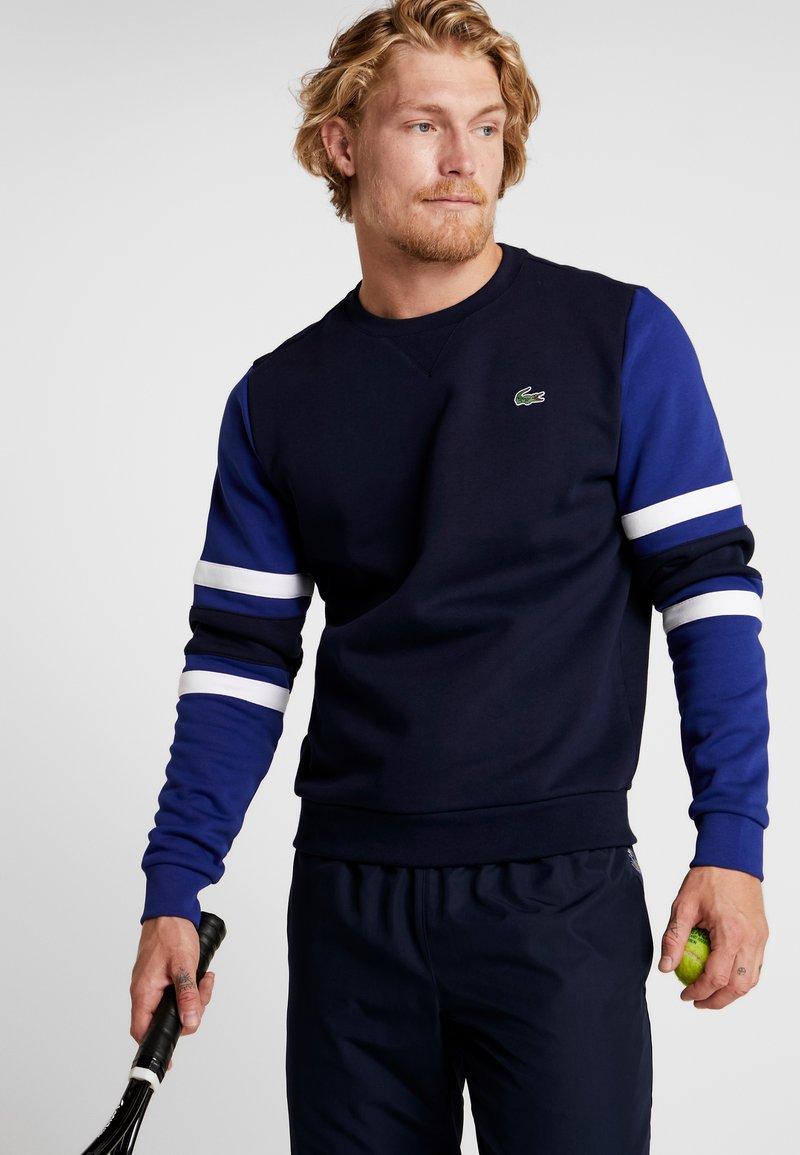 Lacoste Sport - SWEATER - Sweatshirt - navy blue/ocean/white