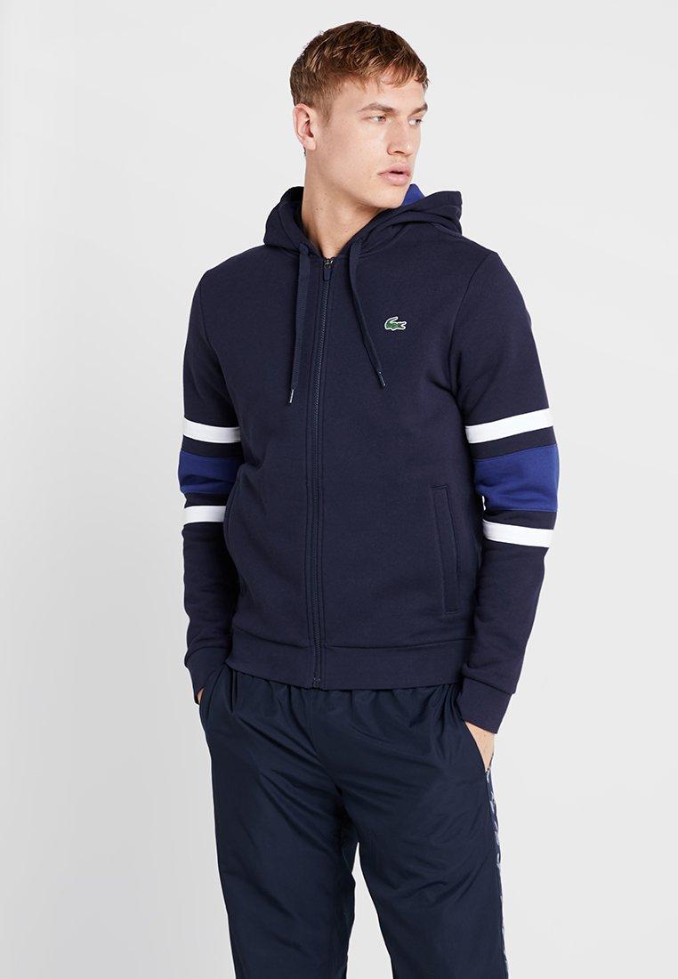 Lacoste Sport - Zip-up hoodie - navy blue/ocean white/ocean