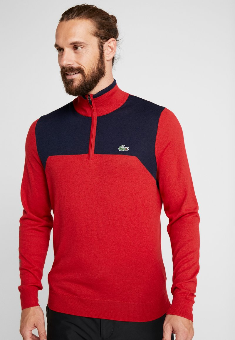 Lacoste Sport - WITH ZIP - Pullover - tokyo red/navy blue