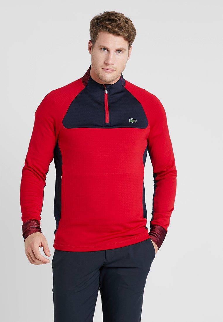 Lacoste Sport - WITH ZIP - Långärmad tröja - tokyo red/navy blue white